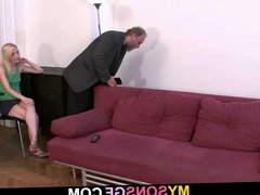He leaves and she sucks old dad cock