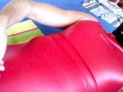 Athletic guy cum in his red rubber swimsuit