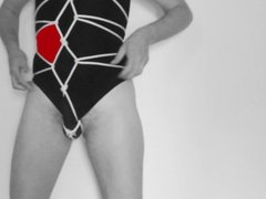 karada in white black and red  whit thong suit
