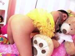 Busty brunette Christy Mack's fun Halloween solo session