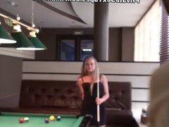 Hot billiard game followed by the sex couple pairing off