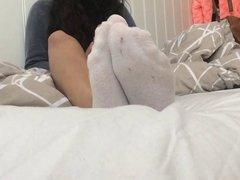 GF's Dirty White Socks Tease