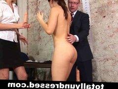 Kinkydouble dildo test for a secretary