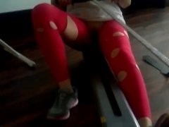 hot girl in ripped yoga pants exercises and masturbation