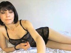 teasing in black lingerie