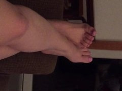 Foot play and cute toe tease