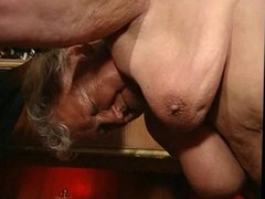 Fat grandma fucked in a bar