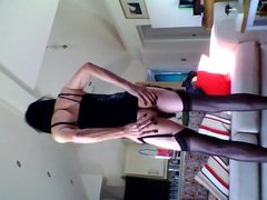 Playing with myself black leather mini dress part one