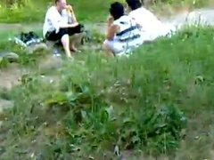 Russian man masturbating in front of girls-3