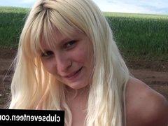 Busty teen Tereza masturbating at the lake