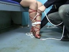 hogtied and mouth wrapped
