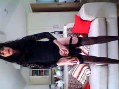 Playing with wine bottle black lace mini dress part two.