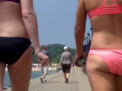 Candid Beach Bikini Ass Butt West Michigan Booty Pink