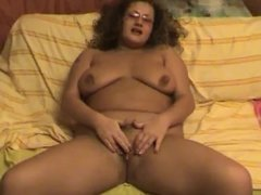 Horny Chubby BBW Ex GF playing with her cute shaven Pussy