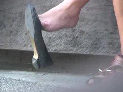 Candid Brunette Feet & Legs Shoeplay Dangling
