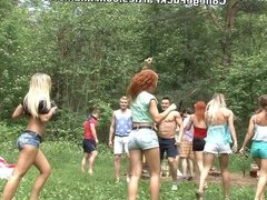 Filthy college sluts turn an outdoor party into wild fuck