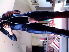 Playing with myself in black PVC cat suit.