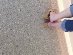 Wife shoe dipping and foot tease part 1
