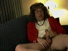 Crossdressed and cumming while on couch
