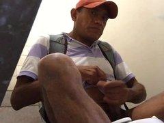 Str8 mexican daddy jerk in public toilet