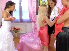 Girlfriends fucked the bride