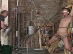Sexy twink Cameron James is slowly tied up and restrained
