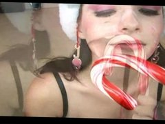 candy and cum in her mouth