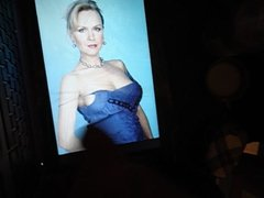 tribute on lady in blue dress