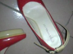 cum in NOT sister's red heels
