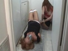 Milfs caught in the laundry room
