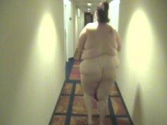 My fat nasty April walkin naked in hotel hallway