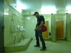 Str8 guy stroke in public toilet