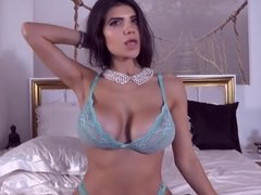 Sexy Latin in Blue lingerie Teasing on Webcam