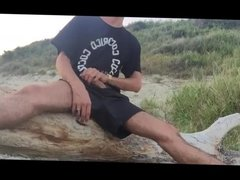 Jerk Off On The Beach With Creamy Eruption