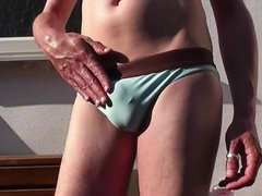 HD Bulging Blue Speedos and Oily Outdoor Cum