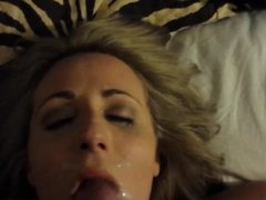 Stroking my cock and cumming on wife's face