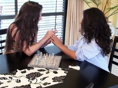 Virgin and Sally finish chess and have lesbian sex