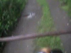 Blonde sucking outdoors