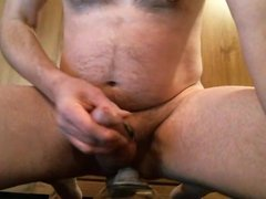 dildo ride with bouncing hard cock and cumshot