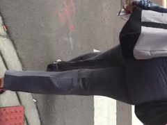 Big booty black gilf in grey dress pants