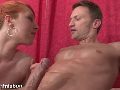 Young french redhead babe ass nailed in a massage room