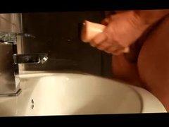 Old Guy Jerk Off in the Bathroom