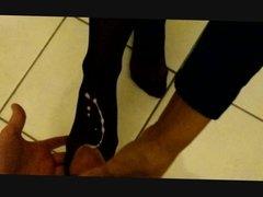 cum on nyloned feet of my wife