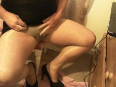 me in my wifes pantyhose playing