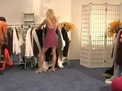 German blonde bitch fucking at the clothing store