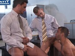 Gay Threesome Office Fuck