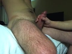 Hotel blowjob with cumshot on his tongue