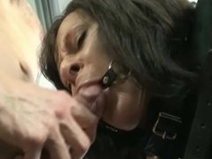 Busty brunette MILF - bound and restrained then used.