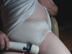 Mature Panty Sissy In a New White Nightgown and Bra Part 2