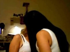 Two hot teens strips and kiss on webcam